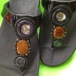 รองเท้า Fitflop New pietra ลูกปัด 3 เม็ด สีดำ No.FF105