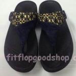 รองเท้า Fitflop New หูหนีบ ลูกไม้ สีกรม  No.FF416