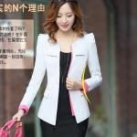 Pre-Order เสื้อสูททำงานแขนยาว เสื้อสูทผู้หญิง สูทลำลอง สีขาว แฟชั่นชุดทำงานสไตล์เกาหลีปี 2014
