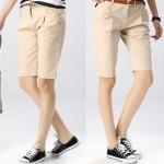 Pre-Order กางเกงขาสั้น ผ้าฝ้ายสีแอพริคอต แฟชั่นฤดูร้อนสไตล์เกาหลีปี 2015