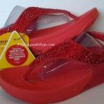 รองเท้า Fitflob Limited รุ่นเพชรกระจายใบไม้รัดส้น สีแดง No.FF166