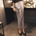 Pre-Order กางเกงสแลคผู้หญิง กางเกงทำงาน ผ้าโพลีเอสเตอร์ กางเกงทรงดินสอ เอวสูง ไซส์ใหญ่ สีครีม