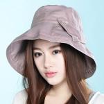 Pre-order หมวกผ้าฝ้ายปีกกว้างติดโบว์ แฟชั่นฤดูร้อน กันแดด กันแสงยูวี สีม่วง โทนสีพาสเทลมาแรงในปีนี้