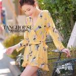 Pre-order ชุดเดรสจั๊มสูทผ้าชีฟองสีเหลืองพิมพ์ลายดอกไม้ แฟชั่นฤดูร้อนสไตล์ยุโรป-อเมริกา ปี 2015