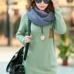 (Pre-Order) เสื้อไหมพรมถักจากผ้าฝ้ายผสมขนสัตว์ แฟชั่นเสื้อสไตล์เกาหลี สีเขียว