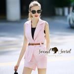 Seoul Secret Say's... Smarty Pinky V Cami Suite Set Material : เซ็ทสวยๆ สไตล์สาวไฮลุคสาวสมาร์ท ด้วยเซ็ทสูทแขนกุดมาพร้อมกับกางเกงขาสั้นใส่เข้าเซ็ทกัน สวยเก๋ดูดีด้วยโทนสีชมพู เติมความเก๋ด้วยเข็มขัดสีน้ำตาล มาพร้อมกับสายเดี่ยวซับในสีดำ งานสวยดูมีสไตล์มา