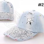 (Pre-order) หมวกเบสบอล ปักหมุดเงิน ปักเพชรอคริลิค ผ้ายีนส์ แฟชั่นหมวกคาวน์บอยเท่ ๆ สีบลูยีนส์ ยีนส์ฟอก