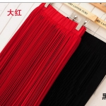 Pre-Order กระโปรงพลีท ผ้าชีฟอง สไตล์โบฮีเมียน ความยาว 50 - 96 cm.สีแดง
