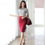 Pre-Order  กระโปรงทำงาน ทรงตรง  ผ้าเสิร์จเนื้อดี สีไวน์แดง  สำหรับสาวออฟฟิศ แฟชั่นเกาหลี
