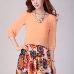 Pre-Order ชุดเดรสชีฟอง เสื้อผ้าชีฟองสีพื้น กระโปรงชีฟองพิมพ์ลายดอกไม้โทนสีส้ม สไตล์สาวโบฮีเมียน แฟชั้นสไตล์เกาหลี 2014
