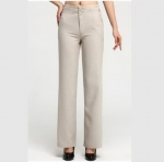 (Pre-Order) กางเกงทำงาน เอวสูง ขาตรง ผ้าฝ้ายผสม สำหรับสาวอวบต้นขาใหญ่ สีเบจ