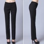 (Pre-Order) กางเกงผู้หญิงขายาว กางเกงผู้หญิงทำงาน กางเกงสูท กางเกงลำลอง ทรงกระบอกตรง สีดำ