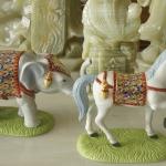 ช้างม้า ขนาดกลาง สูง 12 กว้าง 9 cm (งานเบญจรงค์ ) คู่