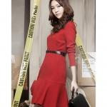 Pre-Order ชุดเดรสผู้หญิงทำงาน ชุดกระโปรงสั้น เสื้อคอกลม แขนยาว กระโปรงทรงเอมีระบายย้วยที่ชายกระโปรง แฟชั่นเสื้อผ้าเกาหลี สีแดง