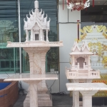 ศาลพระภูมิทรงปราสาท ขนาด ฐานกว้าง 126ซม คู่ศาลตายาย ชมพู