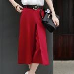 Pre-Order กางเกงขากว้าง กางเกงกระโปรงทำงาน กางเกงกระโปรงลำลอง ผ้าชีฟอง สีพื้น สีแดงม่วง