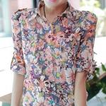 (Pre-Order) เสื้อเชิ้ต แขน3ส่วน คอปกโปโล เข้ารูป ผ้าฝ้ายพิมพ์ลายดอกไม้ แฟชั่นเสื้อสไตล์เกาหลี สีชมพู-ฟ้า
