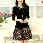 เดรสแฟชั่น เสื้อแขนยาว สีดำ + กระโปรงลายดอกไม้ สวยน่ารักมากๆค่ะ
