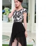 Pre-order ชุดเดรสผ้าชีฟอง สำหรับสาวไทยไซส์ยุโรป สีดำ