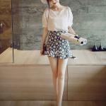 เสื้อแฟชั่นเกาหลีผู้หญิงแขนสั้นถักลูกไม้
