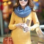 (Pre-Order) เสื้อไหมพรมถักจากผ้าฝ้ายผสมขนสัตว์ แฟชั่นเสื้อสไตล์เกาหลี สีเหลือง