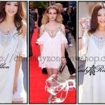 Hot!! เดรสก๊อปแบรนด์ Christian Dior ผ้าซีฟองสีขาว เว้าไหล่แต่งเพชรและมุก  ทรงพลิ้วสวยคะ แซ่บเว่อร์จ้า!!!!