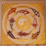 ภาพ ปลาคราฟ ไหว้ วนหยินหบาง ( เงิน ทอง สุขภาพ ไหลเวียนดี ) ขนาด 1 x 1 เมตร
