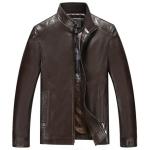 Pre-Order เสื้อแจ็คเก็ตหนังแท้ ผิวกำมะหยี่ สีน้ำตาลเข้ม (112)