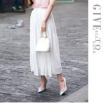 Pre-Order กระโปรงพลีท ผ้าชีฟอง ปี 2014 สไตล์โบฮีเมียน ราคาเบา ๆ น่าเป็นเจ้าของที่สุด สีขาว