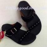 รองเท้า Fitflob New สวม เข็มขัด ปักหมุดเงิน สีดำ No.FF295