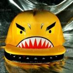 หมวกฉลาม ปากอ้า สีเหลือง (2 ปีก) ลายใหม่ หน้ากวน