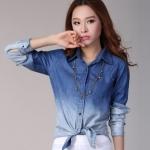 Pre-Order เสื้อเชิ้ตยีนส์ สีบลูยีนส์ ยีนส์เนื้อบาง แขนยาว สีทูโทน แฟชั่นเสื้อยีนส์สไตล์เกาหลีปี 2014