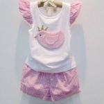 M02128 - ชุดเสื้อ+กางเกงลายสก็อต สีชมพู