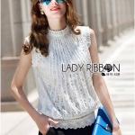 Lady Ribbon's Made Lady Anna Classic Vintage High-Neck Lace Blouse เสื้อแขนกุดคอสูงผ้าลูกไม้สไตล์วินเทจคลาสสิก ลุคนี้ใส่แล้วไม่ตกเทรนด์เลยค่ะ เป็นแบบเรียบๆคลาสสิกกลิ่นอายวิ นเทจนิดๆ ใส่ได้ทุกยุคทุกสมัย เข้ากับท่อนล่างได้หลายลุค ทรงชุดเป็นคอสูง แขนกุด