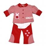 เสื้อชุดกันหนาวเด็กอ่อน สีแดง ลายกระต่ายน้อย ขนาด 3-6 เดือน
