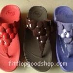 รองเท้า Fitflop Fleur ดอกไม้ 5 ดอก หนังแก้ว/หนังกลับ สีฟ้า No.FF315
