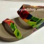 รองเท้า Fitflop New สวม ลายดอกไม้หนังมัน สีเขียว  No.FF312