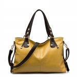 (Pre-order) กระเป๋าสะพายหนังแท้แบบเรียบๆ แฟชั่นกระเป๋าถือ ถุงสะพาย กระเป๋าสะพายสไตล์ยุโรป อเมริกา สีเหลือง