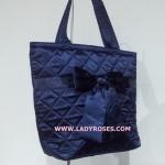 กระเป๋าสะพาย นารายา ผ้าซาตินมัน สีน้ำเงิน ผูกโบว์ (กระเป๋านารายา กระเป๋าผ้า NaRaYa กระเป๋าแฟชั่น)