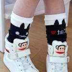 ถุงเท้าเด็ก แบบยาวพื้น Black Cats สีดำ