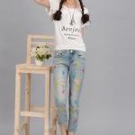 กางเกงแฟชั่นเกาหลี กางเกงยีนส์แฟชั่น กางเกงเอวสูง ยีนส์ฟอก