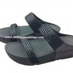 รองเท้า Fitflob Rokkit Slide สวม 2 สายหมุดเพชรกระจาย สีำดำ No.FF272