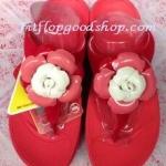 รองเท้า Fitflop Florent ดอกไม้ 1 ดอก ดอกสีขาวสลับสีแดง/พื้นสีแดง No.FF297