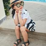 รองเท้าแฟชั่นเด็ก สายไขว้ สีดำ