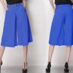 Pre-Order กางเกงขากว้าง กางเกงกระโปรง กางเกงกระโปรงลำลอง ผ้าชีฟอง สีน้ำเงิน