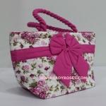 กระเป๋าถือ นารายา Size S ผ้าคอตตอน พื้นสีขาว ลายดอกกุหลาบ สีชมพู ผูกโบว์ สีชมพู สายหิ้ว หูเกลียว (กระเป๋านารายา กระเป๋าผ้า NaRaYa กระเป๋าแฟชั่น)