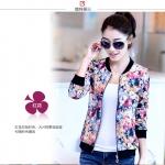 Pre-Order เสื้อแจ็คเก็ตผู้หญิง เสื้อเบสบอล แขนยาว สีแดงลายดอกไม้ทั้งตัว ติดซิปหน้า คอจีน จั๊มปลายแขน