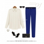 (Pre-Order) กางเกงผู้หญิงทำงานแฟชั่น กางเกงขายาว ทรงขาตรง หรือทรงกระบอกเล็ก ผ้าชีฟองหนาปานกลาง สีน้ำเงิน
