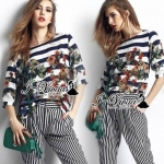 "I-Vivaa recommend ""Stripy set chic"" Fabric : เสื้อ ผ้า Poly เนื้อทราย กางเกง ผ้า TC เนื้อหนานุ่ม Detail : เสื้อลายริ้วพิมพ์ลายดอก+กางเกงลายริ้ว Opportunity To Wear : Relaxing, General Opportunity"