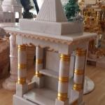 ศาลเจ้าที่หินอ่อน ขนาด 18 นิ้ว (ทรงอินเดีย) หินขาวกรีก พ่นทอง